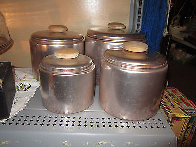 Set of 4 (nesting) Copper Color Wood Handle Aluminum Canister Set by Mirro