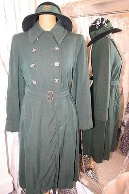 Vintage 1940s wartime green girls school coat with hat Kynch & Lack