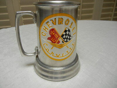 Chevrolet CORVETTE tankard with clear bottom  Metal Racing Flags Vintage