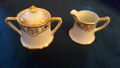 Vintage Nippon (Green) Floral with Gold Trim Cream and Sugar with Lid