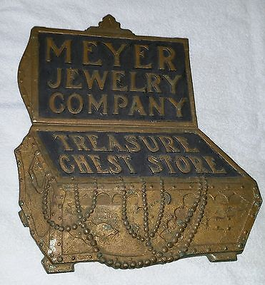 Meyer Jewelry Company Detroit Nickel Plated Relief Cast Bronze Building Sign