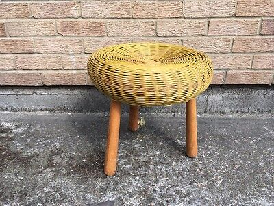 Vintage wicker or rattan stool ottoman footrest French 1960s retro