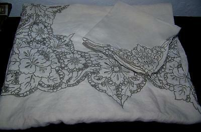 Vintage Madeira Cut Work  & Taupe Embroidered Tablecloth 6 Napkins