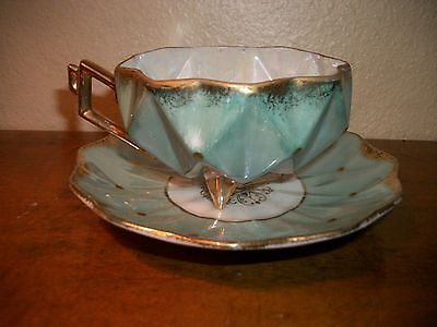 Vintage Art Deco Geometric Royal Sealy Blue Footed Lusterware Cup & Saucer