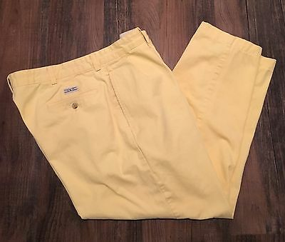 Polo Ralph Lauren Men's Chino Flat Front Pants Pleated Andrew Pant Yellow 38x30