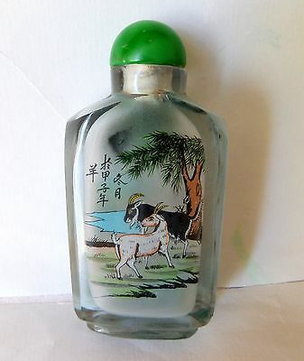 Exquisite Chinese Reverse Hand Painted Snuff Bottle Signed Both Sides