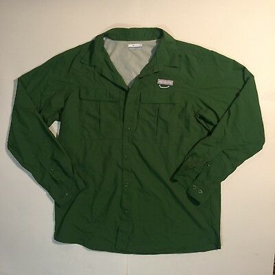 Columbia Green Button Down Long Sleeve Shirt Large