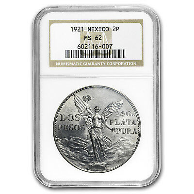 1921 Mexico Silver 2 Pesos Winged Victory MS-62 NGC
