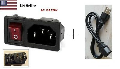 Panel IEC320 panel mount Power Socket  Rocker Switch AC 250V 10A +1 meter cord