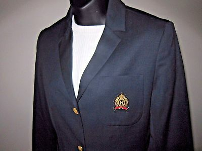 90s Vtg Sz 6 Tommy Hilfiger Navy Crest Blazer Preppy Lined Wool 3 Button Jacket