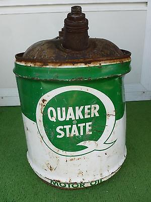 Vintage*Quaker State*Motor Oil Tin Can*Metal 5 Gallon*Rare*Original*Collectable!