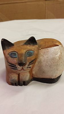 Hand carved wood cat figurine from Thailand