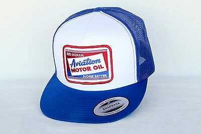 Red Indian Aviation Motor Oil WHITE Blue Mesh Cap TRUCKER HAT Embroidered Patch