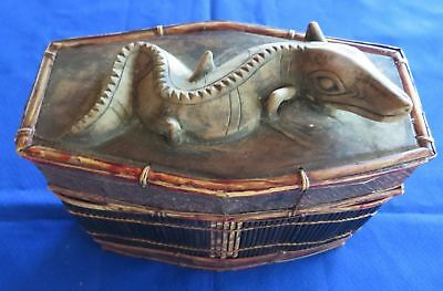 Indonesia Vintage Antique Bamboo Wood Handcrafted Crocodile Box Free Shipping