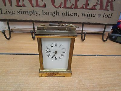 "Antique / Vintage Brass Carriage Clock With Key Working Order 4.5"" Tall"