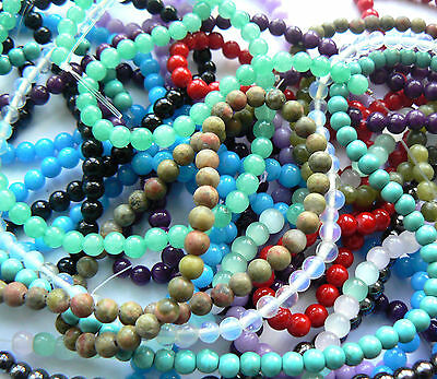 80+ Beads - Natural Stone, Gemstone & Mock Stone - 3mm-4mm Rounds - You Choose!
