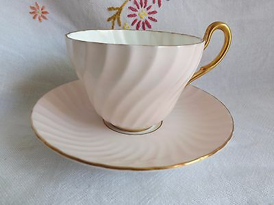 Beautiful Vintage Foley Pale Pink Fluted Tea Cup And Saucer