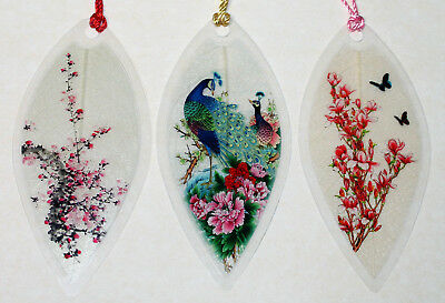 Lucore Leaf Bookmarks - Peacocks & Pink Flowers Asian Painting Lucky Book Marker