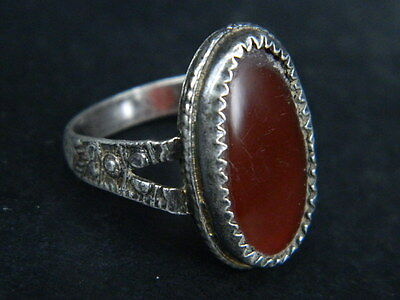 Ancient Silver Ring With Stone Post Medieval 1800 AD  #STC103