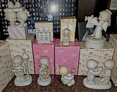 Precious Moments 8 Different Porcelain Figurine Christmas Theme LOT w/ Musical