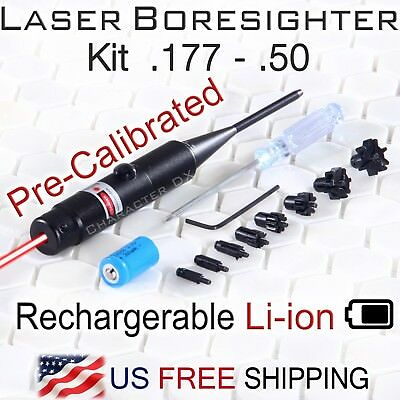 Red Laser Bore Sighter Kit .177 - .50 Caliber Li-ion Battery Charger Boresighter