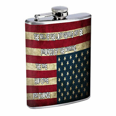 American Flag D14 Flask 8oz Stainless Steel Hip Drinking Whiskey
