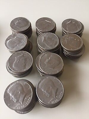 kennedy half dollar 100 coins in lot. 1976. circulated