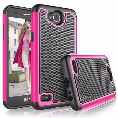 Fits LG X Power 2 Case Rugged Rubber Dual Layer Impact Shockproof Hybrid -  Pink