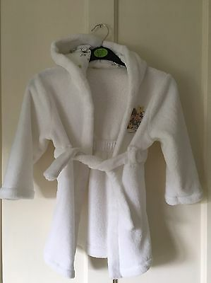 Disney - Mickey/ Minnie Mouse White Fleece Dressing Gown. Unisex. Age 2-3 Years
