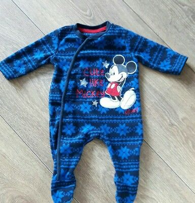 Baby Boys  Navy Disney  Mickey Mouse Sleepsuit   Age 0-3 Months