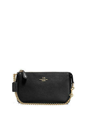 NWT Coach Pebbled Leather Large Wristlet Purse in Black F 53340
