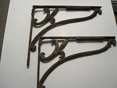 one pair of  antique iron shelf brackets