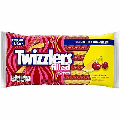 New Sealed Twizzlers Filled Twists Sweet & Sour Artificially Flavored 11 Oz Bag