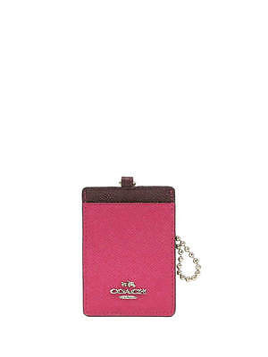 NWT Coach Colorblock Leather ID Case in Burgundy Multi #66091