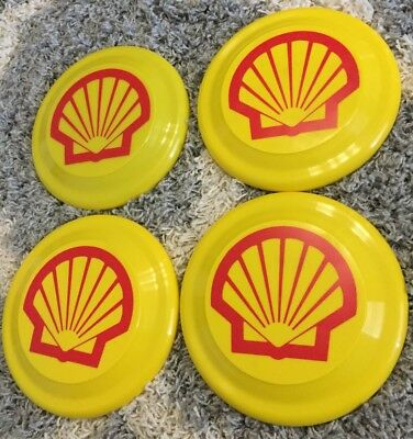 """Lot Of 4 VINTAGE Shell Gas & Oil Advertising Yellow & Red 8.75"""" Round Frisbee"""