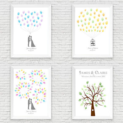 Personalised Wedding Fingerprint Tree / Guest Book Alternative A4/a3
