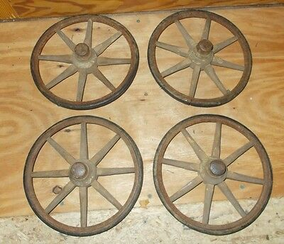 4 Vintage Wooden Spoke Buggy Wagon Wheels Wall Art Hard Rubber Tires Steampunk