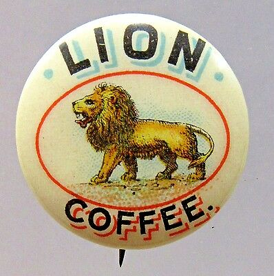 1890's LION COFFEE celluloid pinback button with correct back paper