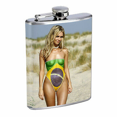 Brazilian Pin Up Girls D14 Flask 8oz Stainless Steel Hip Drinking Whiskey