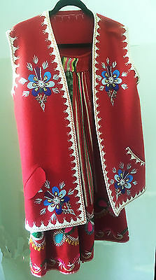 Polish Swiss Hungarian German 100% Wool Embroidered Vest & Skirt