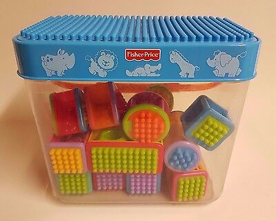 Fisher Price Bucket & 17 Peek-a-Boo Blocks