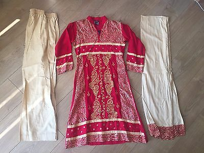 New Kids Sha Posh Ready Made 3Piece Asian Red Embroidered Shalwar Kameez Suit 36