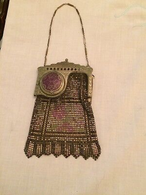 Extremely Rare Vintage Whiting And Davis Mesh Purse With Lipstick Holder
