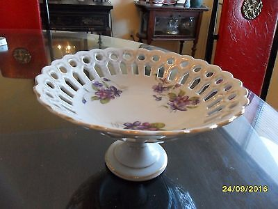 Vintage Compote On Pedestal With Beautiful Violets - Excellent!!!