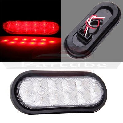 """1) Trailer Truck Red Led 6"""" Oval Stop Turn Tail Light Sealed 10LED Clear Lens"""