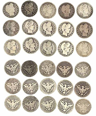 1892 Various Mint Marks 1916 90% Silver Barber Quarter Average Circulated to VG