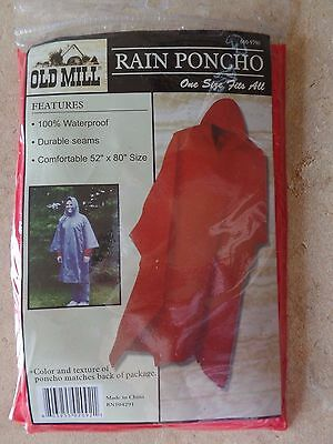 Rain Poncho Old Mill - Waterproof outdoor ONE SIZE FITS ALL- Red-RN104291
