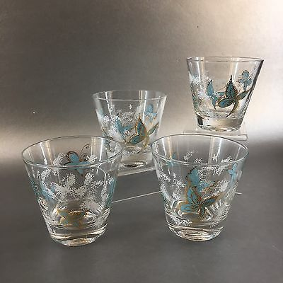 Set Of 4 Turquoise Butterflies And Gold Vintage Mid Century Glasses Whiskey