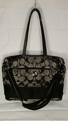 COACH Black~Canvas~Leather~Multi-Function~F15188~Diaper Bag~Large/XL!!   WOW!