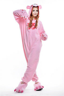 Unisex Adult Animal Pyjamas Cosplay Costume Kigurumi (Pink Gloomy Bear L)